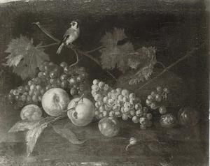 Stilleven met vruchten en een distelvink