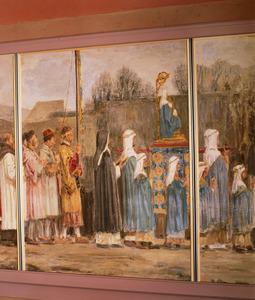Processie met de relikwieën van Sint Walfridus / Het vaandel en het Mariabeeld