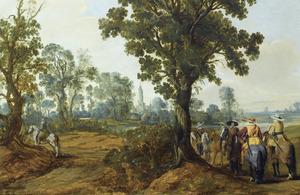 Bebost landschap met ruiters, een toren in de verte