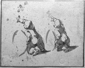 Twee studies van een knielende putto