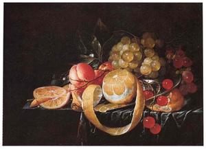 Stilleven van vruchten op een tafel