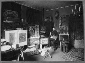 Jan van Oort in zijn atelier, Plantage-Middenlaan 37, Amsterdam