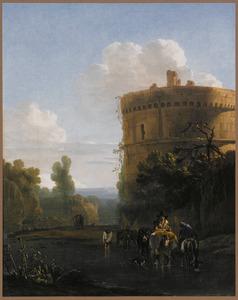 Zuidelijk landschap met ruiter en groep ezels bij een doorwaadbare plaats; rechts de graftombe van de Plautii bij Rome