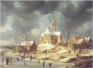 Het dorp Midlum in de winter met ijsvermaak