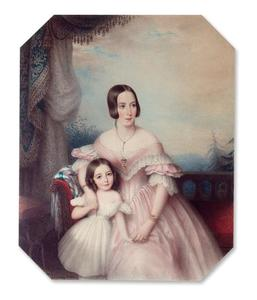 Portret van Louise Catharina Wilhelmina Huyssen van Kattendijke (1812-1843) en Ada Catharina Torck (1835-1902)