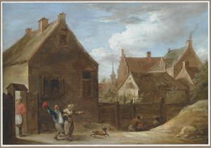 Dorpsgezicht met vertrekkende boeren bij een herberg