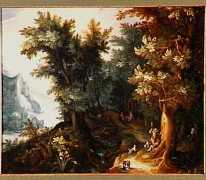 Bebost berglandschap met de vlucht naar Egypte