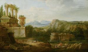 Zuidelijk rivierlandschap met ruines en een landhuis