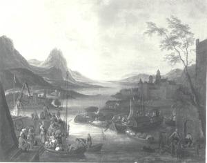 Veerboot in in een rivierdal met een klooster