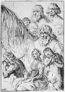 Drie studies van de H. Maria Magdalena, koppen en de hals van een paard