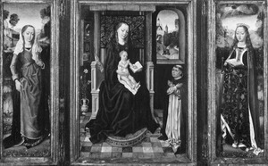 De H. Maria Magdalena (links), Maria met kind en stichter (midden), de H. Catharina