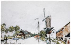 Gezicht op een polderlanschap met molen
