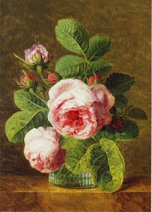 Stilleven van roze rozen op een marmeren blad