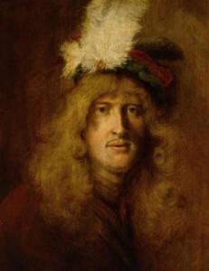 Portret van een jonge man met baret met veren