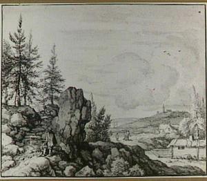 Scandinavisch landschap met een pad tussen de rotsen