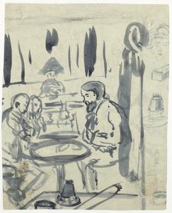 Gezelschap in een café aan de Boulevard Sebastopol