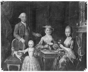 Portret van Hans Willem van Plettenberg (1732-1800), Maria Johanna Hermanna Keiser (1739-1816), Petronella Agatha van Plettenberg (1765-1843) en Ybella Alegonda van Plettenberg (1735-1813)