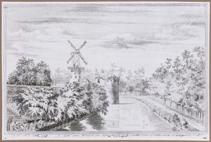 Gezicht vanaf het bastion Morgenster in Utrecht naar molen De Meiboom op het Paardenveld en de Probeertoren (ook waltoren Het Paard of Rostoren genoemd)
