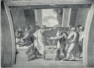 David wordt door Samuël gezalfd in aanwezigheid van zijn vader Isai en zijn broers (1 Samuël 16:1-13)