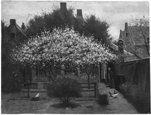 Huisje met bloeiende vruchtenbomen te Katwijk-Binnen