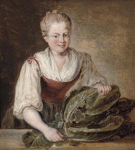 Jonge vrouw met een groene kool