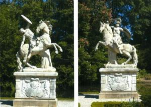Griekse strijder te paard tegen een Amazone