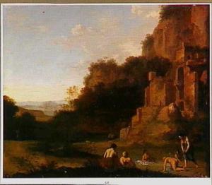Italianiserend landschap met badende nimfen bij een ruïne