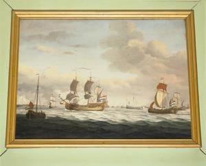Zeegezicht met diverse schepen waaronder een driemaster