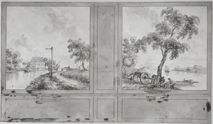 Ontwerp voor een kamerwand met twee landschappen ter weerszijden van een tussenpaneel
