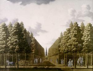 Het Sterrebos in Groningen vanuit het noorden gezien, op de achtergrond de Martinitoren