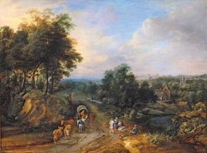 Heuvellandschap met huifkar, vee en boeren, een  boerderij in de achtergrond