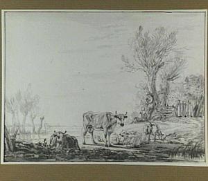 Rivierlandschap met herders en vee