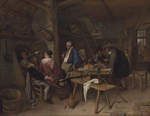 Drinkend en etend gezelschap in een herberg
