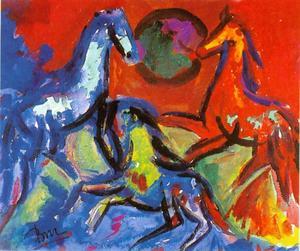 Drie dansende paarden