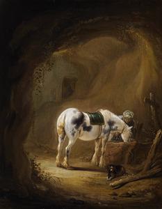 Drinkend paard in een grot