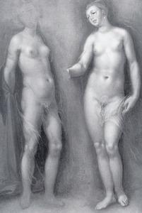 Studie van twee naakte vrouwen