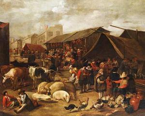 Dorpsmarkt met kramen en vee