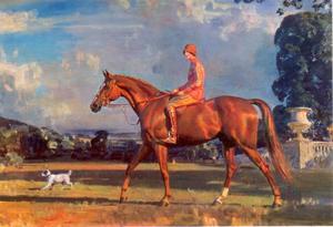 Mrs Florence Marjorie Kershaw op een voskleurig jachtpaard