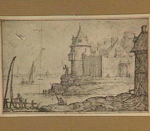 Landhuis met ronde toren aan de oever van een rivier
