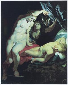 Psyche lekt, terwijl zij hem bespiedt,  hete olie op de slapende Amor