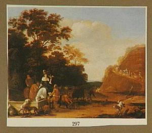 Landschap met jagers bij een fontein