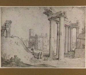 Rome, Forum Romanum met de tempel van Titus en Vespasianus, de tempel van Saturnus en de boog van Septimius Severus