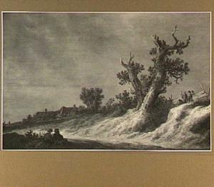 Boeren in een weids landschap met twee eiken