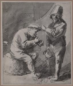 Zittende rokende boer en staande man met kruik