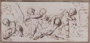 Putti spelend met druiven