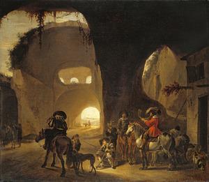 Valkenjagers voor een herberg in een ruïne