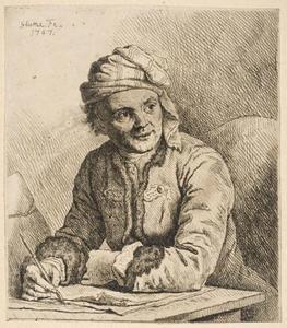 Portret van de kunstenaar Joachim Martin Falbe (1709-1782), aan het tekenen