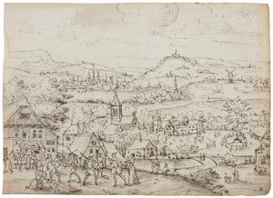 Heuvellandschap met vechtende figuren bij een herberg