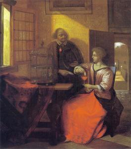 Man met brief en vrouw die een vogel voert
