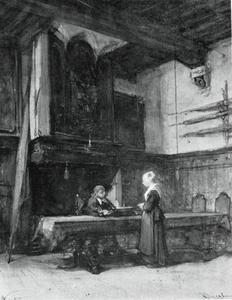 Twee figuren in de Raadhuiskamer van Naarden